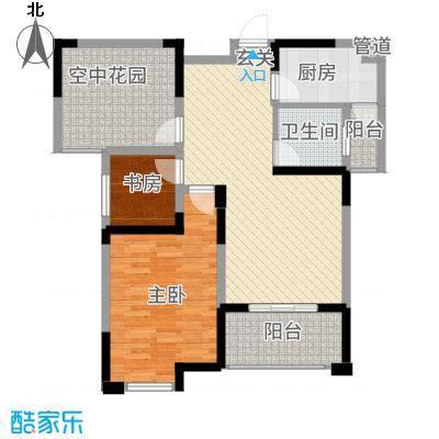 永华滨江名城87.20㎡方双阳台户型