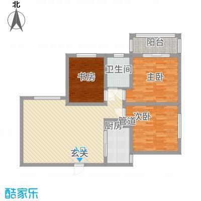 希尔国际公馆38.20㎡3A户型3室2厅1卫1厨