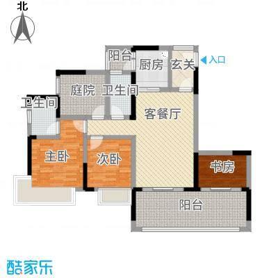 龙川北郡二期115.00㎡二期4栋标准层B户型4室2厅2卫1厨