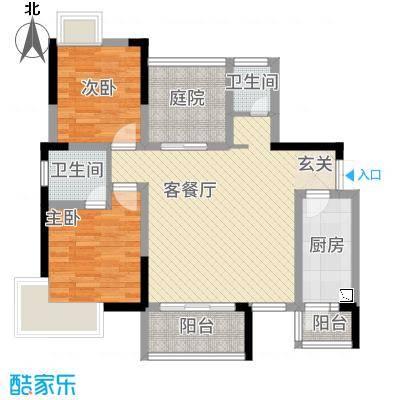 龙川北郡二期15.00㎡二期5栋标准层B户型3室2厅2卫1厨
