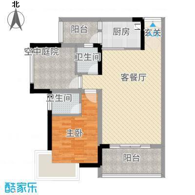 龙川北郡二期7.00㎡二期5栋标准层C户型2室2厅2卫1厨
