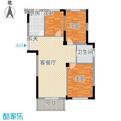 东方华庭131.20㎡G1户型3室2厅1卫1厨