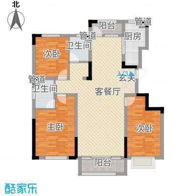 汉爵御苑3.20㎡户型3室2厅2卫1厨