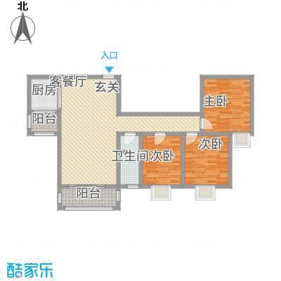 湖景花园117.84㎡三期E2户型3室2厅1卫1厨