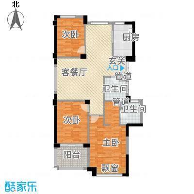滨江城市之星128.20㎡e户型3室2厅2卫1厨