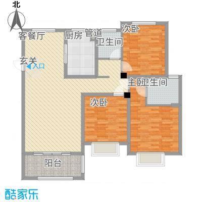 翰林华府3.20㎡C户型3室2厅2卫