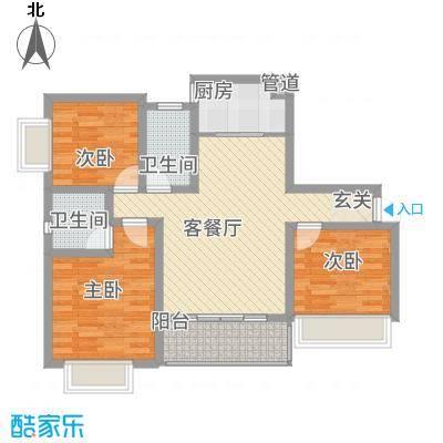 武陵富华大厦2.22㎡户型3室2厅2卫1厨