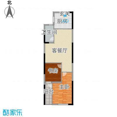 仙林悦城115.20㎡10、15幢标准层户型2室2厅1卫1厨