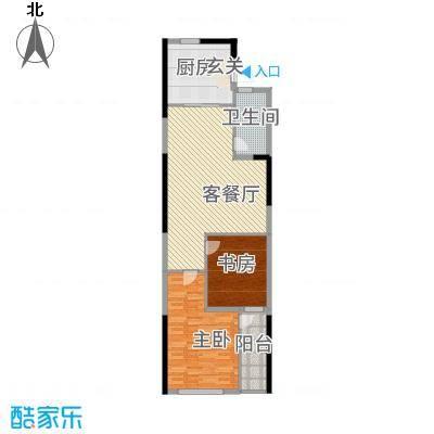 仙林悦城11562.20㎡10、15幢标准层户型2室2厅1卫1厨