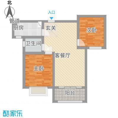 芳清苑4#N户型2室2厅1卫1厨