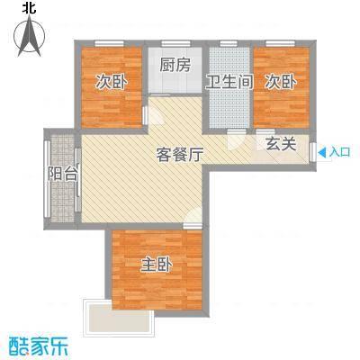 芳清苑1#J户型3室2厅1卫1厨