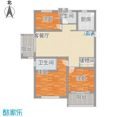 宏基・阳光尚城131.38㎡高层2户型3室2厅2卫1厨