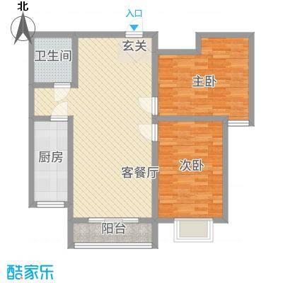 翠堤春晓58.47㎡5#标准层-B户型2室2厅1卫