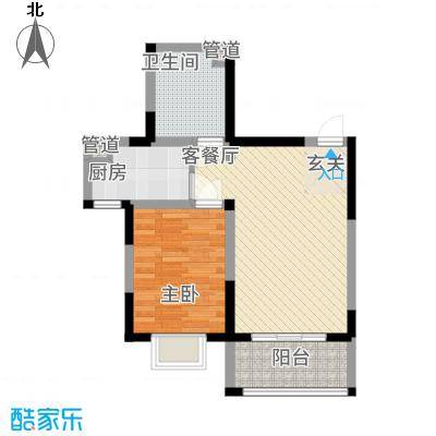芳清苑3#E户型1室2厅1卫1厨