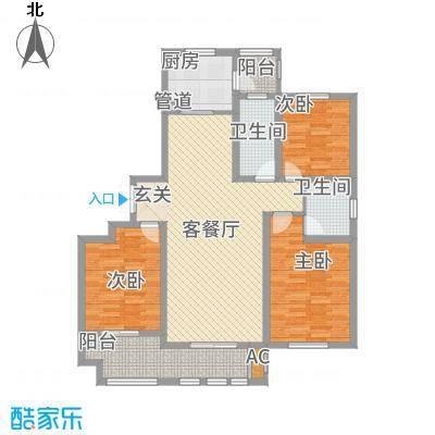 新铭基书香苑136.72㎡小高层2户型3室2厅2卫1厨