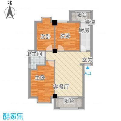 嘉和城32.78㎡B户型3室2厅1卫1厨