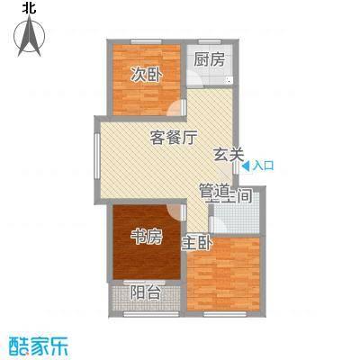 航顺悦澜山37.32㎡B户型3室2厅1卫1厨