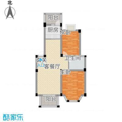 盛世莲花123.20㎡1、2、3#E户型2室2厅1卫1厨