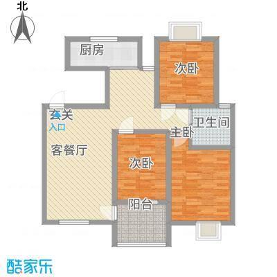 天惠景庭32113.44㎡I户型3室2厅1卫1厨