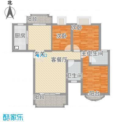 新君汇花地湾86.67㎡一栋B型户型3室2厅2卫