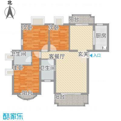 新君汇花地湾88.20㎡一栋A型户型3室2厅2卫