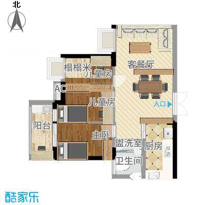 贝蒙天地锦轩58.47㎡一期3号楼标准层A2户型-副本-副本-副本