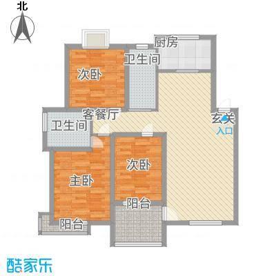 天惠景庭26127.52㎡26#楼边户H户型3室2厅2卫1厨