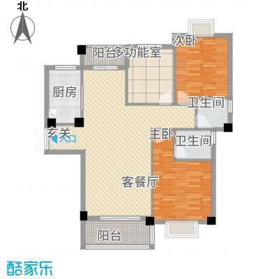 新新罗马家园125.62㎡户型3室2厅2卫1厨