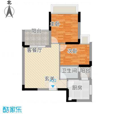 全顺・曼弄枫情66.84㎡B1户型2室2厅1卫