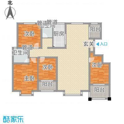 豪门又一城5165.20㎡一期59#、60#楼标准层F户型4室2厅2卫1厨