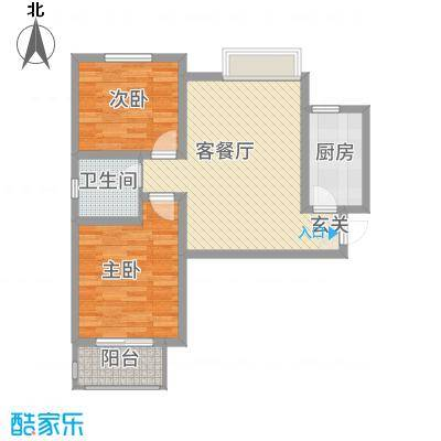 中国铁建・明山秀水87.32㎡F户型2室2厅1卫1厨