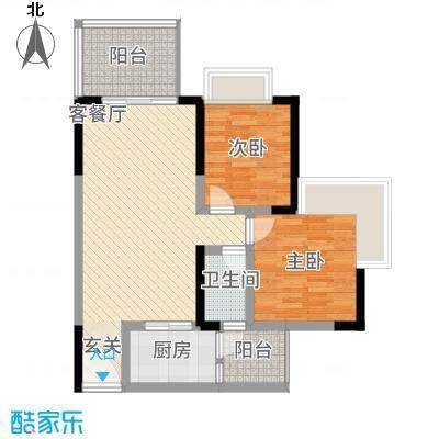 正升・时代港湾1、户型2室2厅1卫1厨