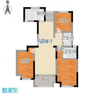 绿地中央花园12.20㎡爵士香悦户型3室2厅2卫1厨