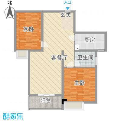 龙海明发广场127.20㎡1#楼B2户型2室2厅1卫1厨