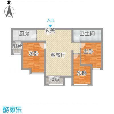 天成一品111.75㎡1号楼三居户型3室2厅1卫1厨