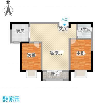 金海名苑23.20㎡户型2室2厅1卫1厨