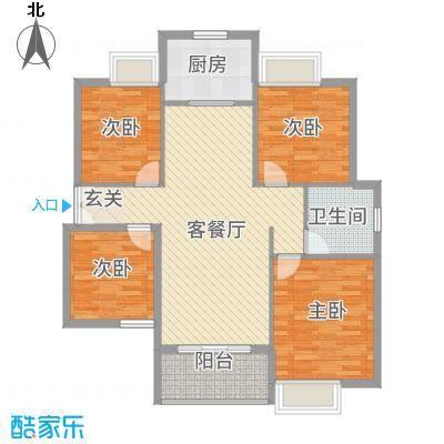 雍福上城164211.20㎡D户型4室2厅1卫1厨
