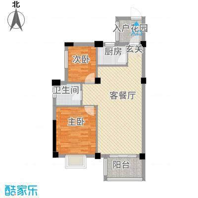 广隆海尚首府88.20㎡8#楼B户型2室2厅1卫1厨