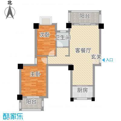 广隆海尚首府82.20㎡8#楼A户型2室2厅1卫1厨