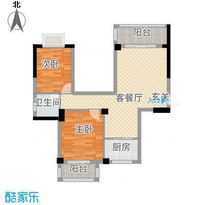 广隆海尚首府88.20㎡8#楼C户型2室2厅1卫1厨
