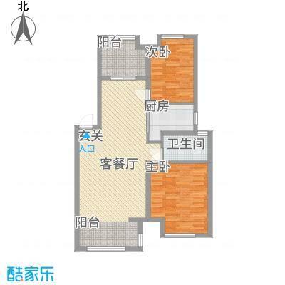 天湖丽景湾84.62㎡B户型2室2厅1卫