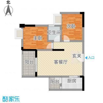 金九・南滨花园77.71㎡12号楼3号房户型2室2厅1卫1厨