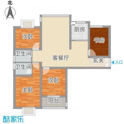 水岸华府114.20㎡1#楼A户型4室2厅2卫1厨