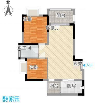 善群・天秀龙湾84.62㎡户型2室2厅1卫
