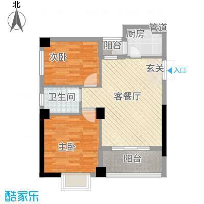 旭峰花园广场78.20㎡B户型2室2厅1卫1厨
