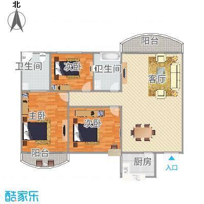 龙福花园1梯三户厅带阳台朝北129平