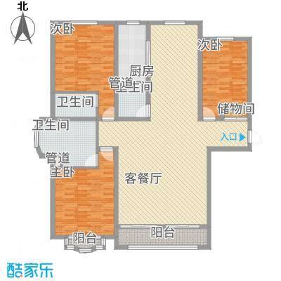 天阳御珑湾户型图3号楼E户型 3室2厅3卫1厨-副本