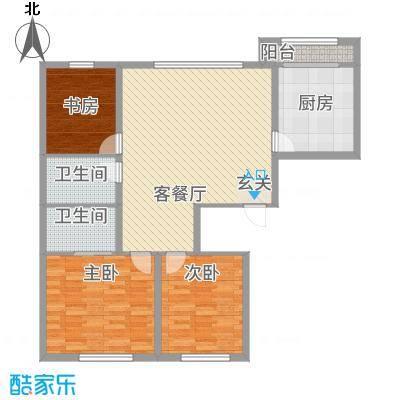 军安小区312.20㎡户型3室2厅2卫1厨