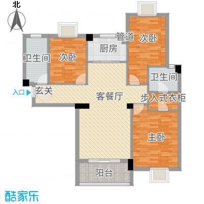 滨江星城1233118.25㎡12号户型3室2厅2卫1厨