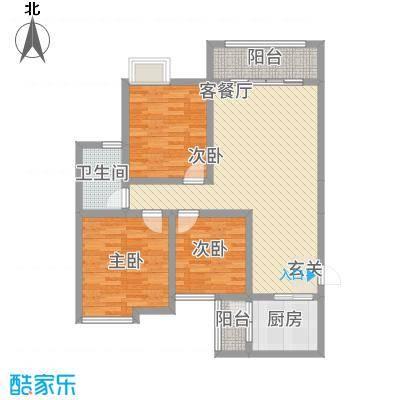 永川金域蓝湾二期二期12栋标准层F2户型3室2厅1卫1厨